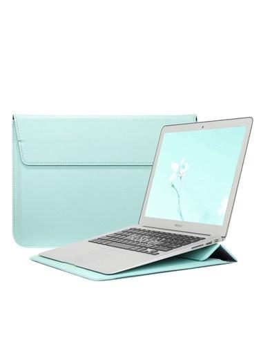 Mcstorey MacBook Air Retina 13.3 13  Vegan Deri Çanta Zarf Kılıf Sleevebag  Stand Yeşil